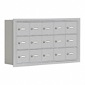 Silver Cell Phone Locker, (5) Wide, (3) Tier, Openings: 15, Lock: Keyed