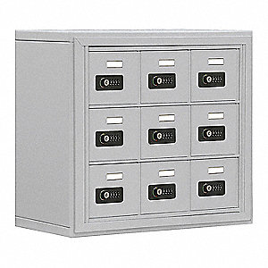 Silver Cell Phone Locker, (3) Wide, (3) Tier, Openings: 9, Lock: Resettable Combination