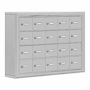 Silver Cell Phone Locker, (5) Wide, (4) Tier, Openings: 20, Lock: Keyed