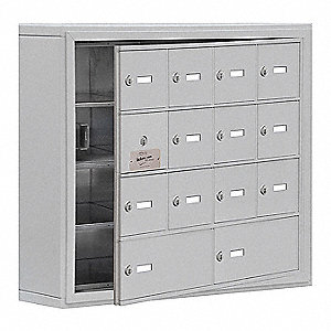 Silver Cell Phone Locker, (4) Wide, (4) Tier, Openings: 4, Lock: Keyed