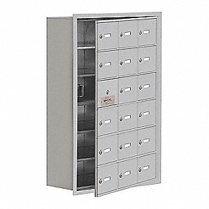 Silver Cell Phone Locker, (3) Wide, (6) Tier, Openings: 17, Lock: Keyed