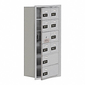 Silver Cell Phone Locker, (2) Wide, (6) Tier, Openings: 9, Lock: Resettable Combination