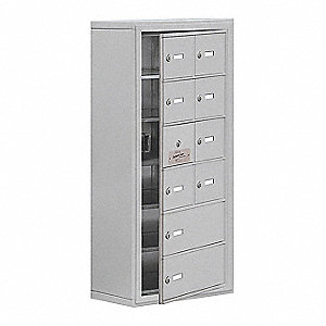 Silver Cell Phone Locker, (2) Wide, (6) Tier, Openings: 9, Lock: Keyed