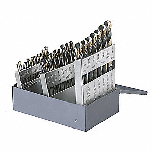 29 Pc Jobber Drill Bit Set, High Speed Steel, Black/Gold