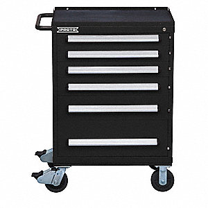 "Black Heavy Duty Toolbox, 42-1/2"" H X 30"" W X 21-3/8"" D, Number of Drawers: 6"