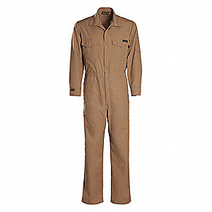 UltraSoft®, Flame-Resistant Coverall, Size: S, Color Family: Browns, Closure Type: Zipper
