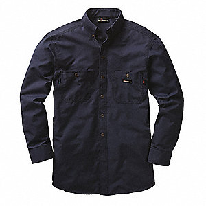 "Navy Flame-Resistant Collared Shirt, Size: L, Fits Chest Size: 46"", 9.5 cal./cm2 ATPV Rating"