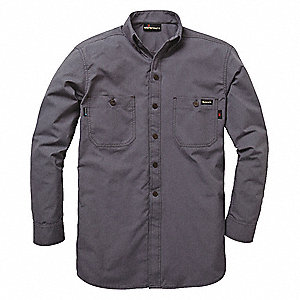 "Charcoal Gray Flame-Resistant Collared Shirt, Size: S, Fits Chest Size: 40"", 9.5 cal./cm2 ATPV Ratin"