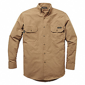 "Brown Flame-Resistant Collared Shirt, Size: L, Fits Chest Size: 45-1/2"", 8.2 cal./cm2 ATPV Rating"
