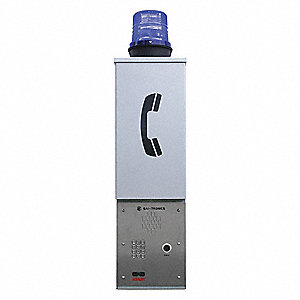 "11"" x 7"" x 40"" Wall Mount Emergency Phone Tower, Silver"
