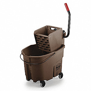Brown Mop Bucket and Wringer, 8-3/4 gal.