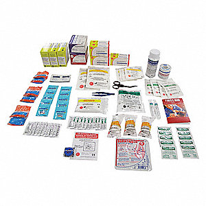 First Aid Kit Refill, Refill, Cardboard Case Material, Industrial, 100 People Served Per Kit