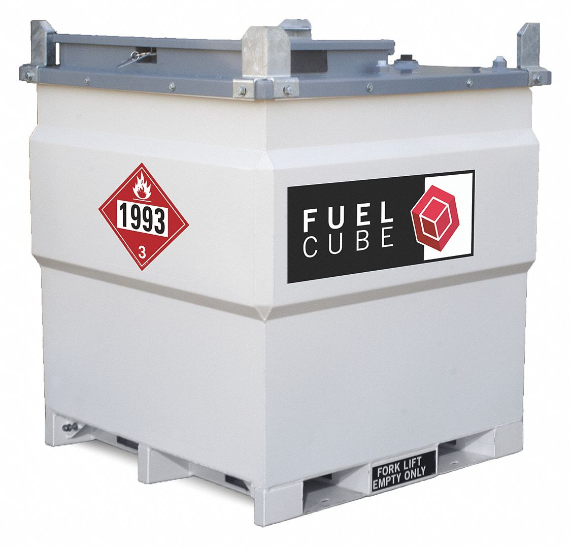 White Square Diesel Fuel Tank, 250 gal Capacity, 11 Gauge Steel
