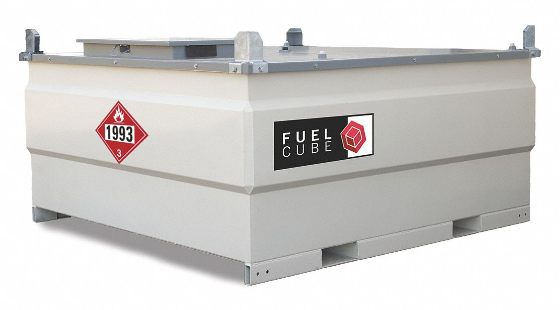 White Square Diesel Fuel Tank, 1,000 gal Capacity, 11 Gauge Steel