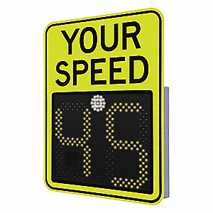 Your Speed LED Radar Speed Display Sign, Amber LED Color, Power Requirements: 240V