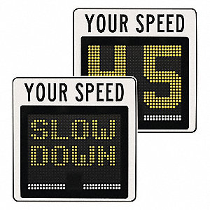 Your Speed LED Radar Speed Display Sign, Amber LED Color, Power Requirements: Solar