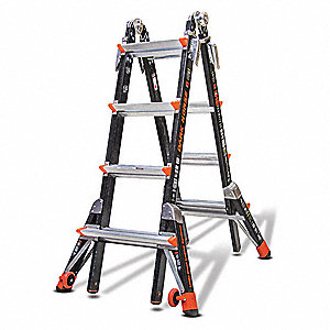 9 ft. Fiberglass Multipurpose Ladder, 300 lb. Load Capacity, 54.0 lb. Net Weight
