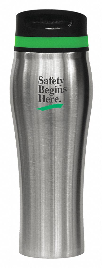 Tumbler,  Silver/Green,  Stainless Steel,  16 oz Size