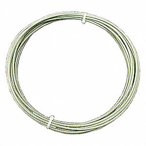 "Cable, 5/32"" Outside Dia., Galvanized Steel, 100 ft. Length, 7 x 7, Working Load Limit: 184 lb."