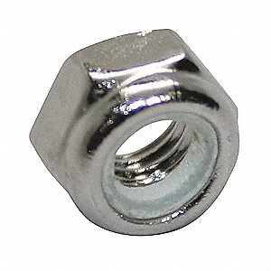 M6-1.00 Nylon Insert Lock Nut, NL-19(SM) Finish, A2 Stainless Steel, Right Hand, DIN 985, PK50