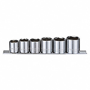 "3/8""Drive SAE Chrome Socket Set, Number of Pieces: 6"