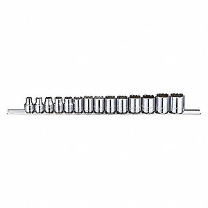"Socket Set,3/8"",Metric,Chrome,14pcs"