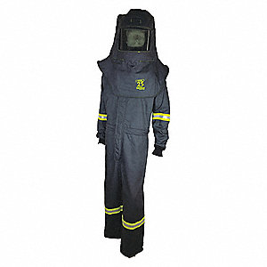 25.0 cal./cm2 Arc Flash Suit Kit, 3-HRC, Charcoal Gray, 4XL