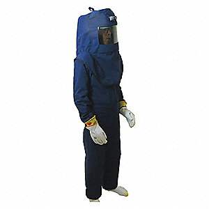 42.0 cal./cm2 Arc Flash Suit Kit, 4-HRC, Navy Blue, L