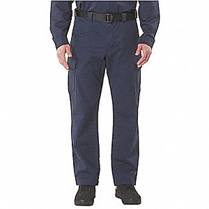 "Dark Navy Flame Resistant Pants, 99% Cotton/1% Elastane Flame-Retardant Twill, Fits Waist Size: 48"","