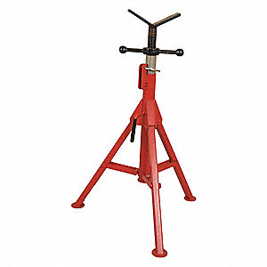 "V-Head Pipe Stand, 1/2"" to 16"" Pipe Capacity, 27"" to 50"" Overall Height, 2500 lb. Load Capacity"