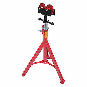 "Pipe Stand with Roller Head, 1/2"" to 16"" Pipe Capacity, 27"" to 50"" Overall Height, 2,500 lb. Load Ca"