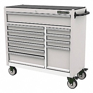 Westward Stainless Steel Rolling Cabinet 33 35 64 H X 42 3 W 18 15 16 D Number Of Drawers 11 53rh52 Grainger