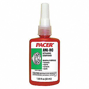 Retaining Compound, 1.69 oz. Bottle, 4000 Shear Strength (PSI), -65° to 300°F