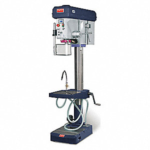 "3 Motor HP Floor Drill Press, Belt Drive Type, 22"" Swing, 240 Voltage"