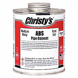 Black Pipe Cement, Medium Bodied, Size 32 oz., For Use With ABS Pipe