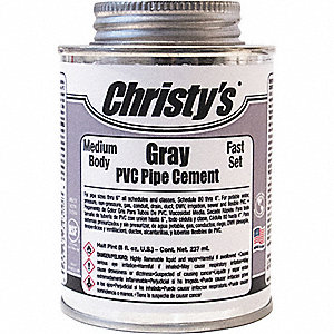 Gray Pipe Cement, Medium Bodied, Size 8 oz., For Use With PVC Pipe