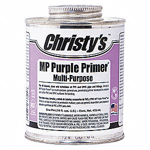 Purple Primer, Multi Purpose, Size 16 oz., For Use With PVC, CPVC and ABS Pipe