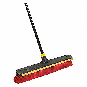 "Push Broom,Head and Handle,24"",Red"