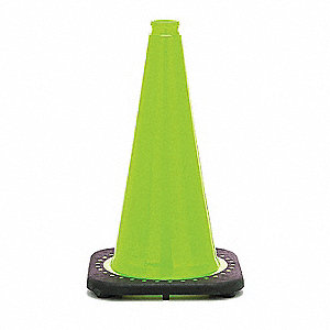 "Traffic Cone, 18"" Cone Height, Lime, PVC"