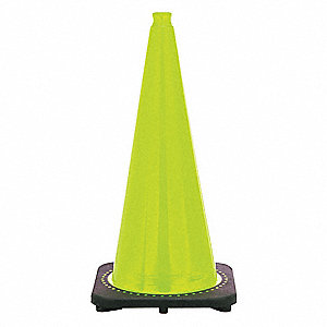"Traffic Cone, 28"" Cone Height, Lime, PVC"