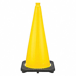 "Traffic Cone, 28"" Cone Height, Yellow, PVC"