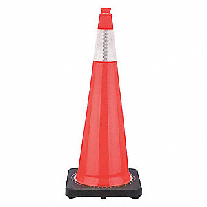 "Traffic Cone, 36"" Cone Height, Orange, PVC"