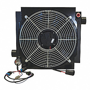 12VDC Brushless DC Motor Forced Air Oil Cooler, 30 HP Heat Removed