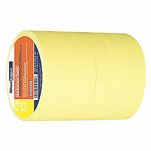 Paper Painters Masking Tape, Rubber Tape Adhesive, 6.30 mil Thick, 24mm X 55m, Yellow, 6 PK