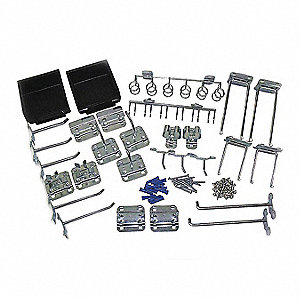 Steel Pegboard Hook Assortment Kit, Screw In Mounting Type, Silver, Finish: Zinc Plated Steel