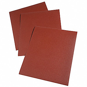 "Very Fine Aluminum Oxide Cloth Sheet, P240 Grit, 11"" L X 9"" W, Backing Weight : J, 50 PK"
