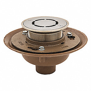 "Cast Iron, Nickel Bronze Round Floor Drain, No Hub Connection, 2"", Pipe Dia., 6-1/4"" Height - Drains"