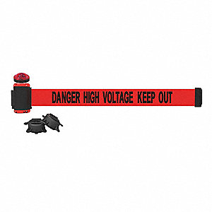 Belt Barrier w/Light Kit, Red, Danger High Voltage Keep Out