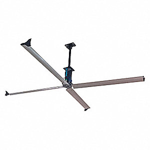 4-Blade Ceiling Fan, 230V, 15 to 40 ft. Mounting Height, Variable-Speed, 14 ft. Blade Dia., 70 RPM