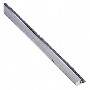 "Aluminum, Door Weather Strip, Silver, 8 ft. Overall Length, 5/16"" Overall Width, 3/4"" Overall Height"